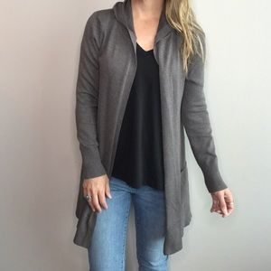 Taupe Open front hooded cardigan
